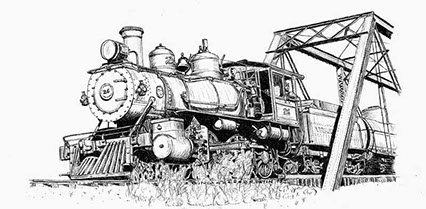 Drawing of V&T Locomotive No. 26 on a bridgef by Richard (Dick) C. Datin from the Stephen Drew Collection. All rights reserved.