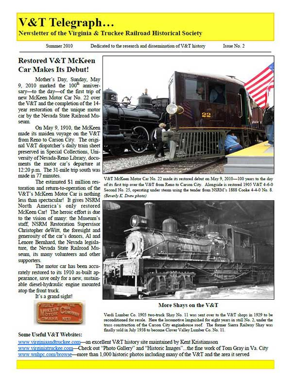 Virginia & Truckee Historical Society newsletter, V&T Telegraph,  Issue 2, Summer 2010