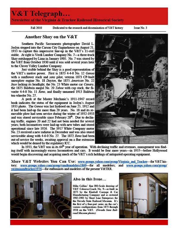 Virginia & Truckee Historical Society newsletter, V&T Telegraph,  Issue 3, Fall 2010