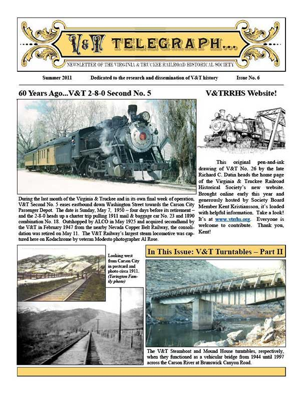 Virginia & Truckee Railroad Historical Society newsletter, V&T Telegraph Issue 6, Summer 2011
