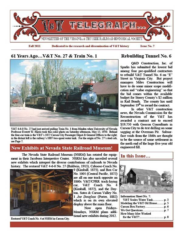 Virginia & Truckee Railroad Historical Society newsletter, V&T Telegraph, Issue 7, Fall 2011