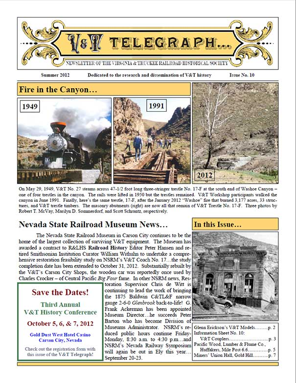 Virginia & Truckee Railroad Historical Society newsletter, V&T Telegraph, Issue 10, Summer 2012