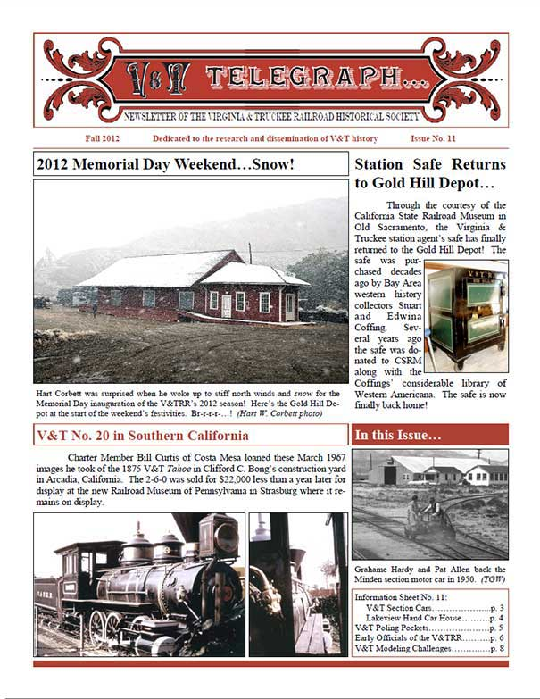 Virginia & Truckee Railroad Historical Society newsletter, V&T Telegraph, issue 11, Fall 2012