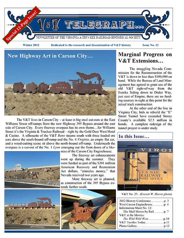 Virginia & Truckee Railroad Historical Society newsletter, V&T Telegraph, Issue 12, Winter 2012